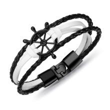 Senhoras preto e branco pulseiras de couro fino charme