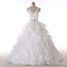 Aoliweiya diseño cuello en V princesa vestido de la boda real imagen