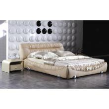 Moderne Schlafzimmermöbel, König Größe ledernes Bett (9009)