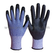 13G Hppe Knitted Cut Resistant Gloves with Black PU Coating on Palm