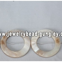 white donut shape freshwater shell beads