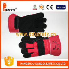 Black Cow Split Leather Full Palm Red Cotton Back Gloves