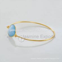Handmade Vermeil Gold Natural Gemstone Latest Design Daily Wear Bangle In Wholesale