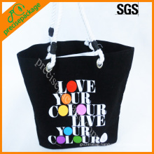 Black color canvas tote bag with printing