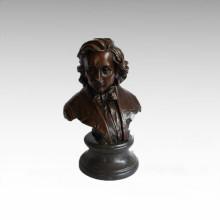 Busts Brass Statue Musician Schubert Decor Bronze Sculpture Tpy-804