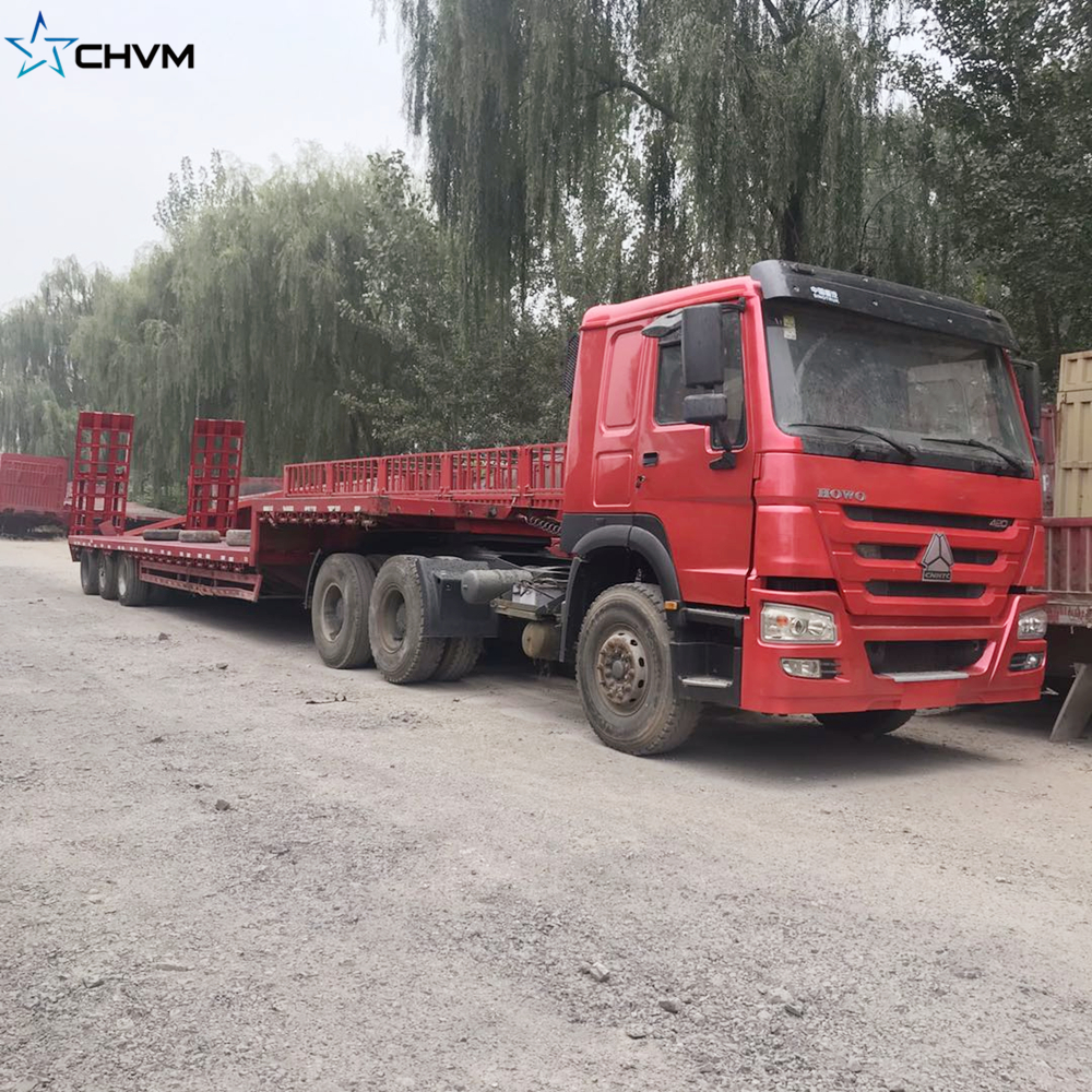 Cheap Price Used 60ton Low Bed Truck Trailer