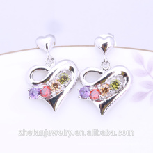 2018 trending products High quality fashion accessory labels heart shaped stone earrings