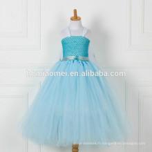 Chine usine fournir bleu couleur long style fleur fille robe en gros boutique bébé fille floral tutu robe avec pas cher prix