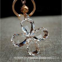 Lindo anel de cristal de trevo de quatro folhas chaveiro
