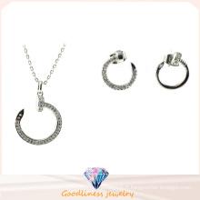 Boucles d'oreilles en argent plaqué or argent et argent sterling Ensemble de bijoux à la mode design Circle Set Robe de mariée pour femme S3258