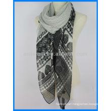 Polyester voile print plain pashmina shawl