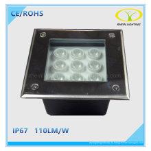 IP67 Открытый пейзаж 9W Сид подземный свет СИД с квадратным дизайном