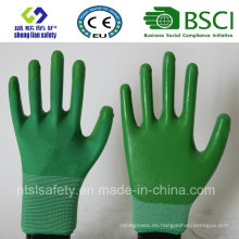 13G poliéster Shell con guantes de trabajo revestidos de nitrilo (SL-N109)