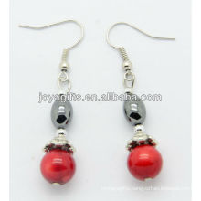 Wholesale red coral with hematite rice beads earring