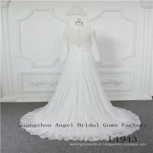 Mangas compridas chiffon com frisado vestido de noiva