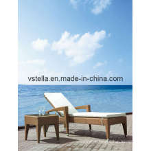 Outsunny Adjustable PE Rattan Wicker Patio Chaise Lounge Chair