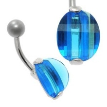 Large Jewel Silver&Steel Belly Bar Blue Oval