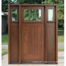 Craftsman Entry Wood Doors with Two Side Lites and Clear Glass