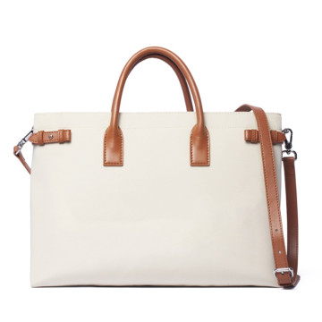 Frauen Nylon Canvas Laptop Tasche Leder Griffe