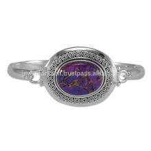 Natural Purple Copper Turquoise Gemstone & 925 Sterling Solid Silver Unique Round Bangle