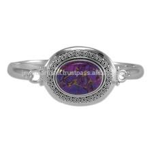 Натуральный Фиолетовый Меди Бирюзовый Драгоценных Камней & Серебро 925 Пробы Чистого Серебра Уникальный Круглые Браслет