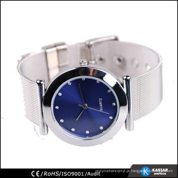 Relógio de malha de aço inoxidável para senhoras