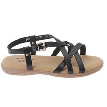 Strappy Style Black Leather Casual Sandals