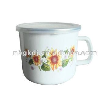 taza de esmalte de porcelana con tapa de PP y borde SS