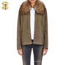 Moda clásica cuello de piel chaquetas de manga larga hombres o mujeres con cremallera Hooded Sweater Coat