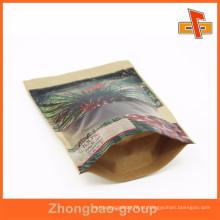 Personalizado pinted stand up zip saco de papel marrom para embalagem folha de palmeira