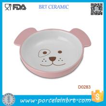 Small Cute Dog Shape Ceramic Food Feeding Pet Bowl