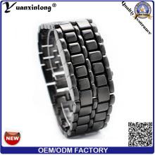 Горячие Продажа YXL-150 популярных вольфрама двоичные лавы Светодиодные часы унисекс мужчин женщин цифровой моды часы логотип наручные часы фабрика