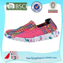 2015 новейшие дешевые красочные тканые ботинки для женщин