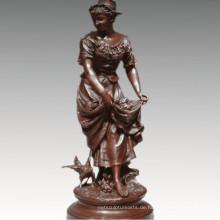 Weibliche Sammlung Bronze Skulptur Landwirtschaft Frau Dekoration Messing Statue TPE-929