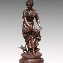 Femme Collection Bronze Sculpture Agriculture Femme Décoration En Laiton Statue TPE-929