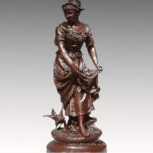 Женская Коллекция бронзовой скульптуры культур женщина украшение Латунь статуя ТПЭ-929