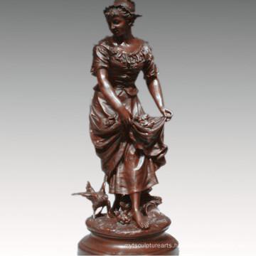 Female Collection Bronze Sculpture Farming Woman Decoration Brass Statue TPE-929