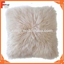 Cojín de piel de cordero Piel de Mongolia teñido de color beige