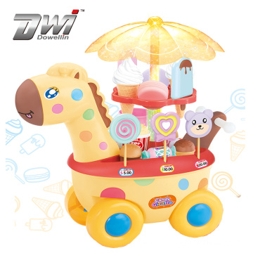 DWI Kid play rotate candy ice cream trolley toy with light and music