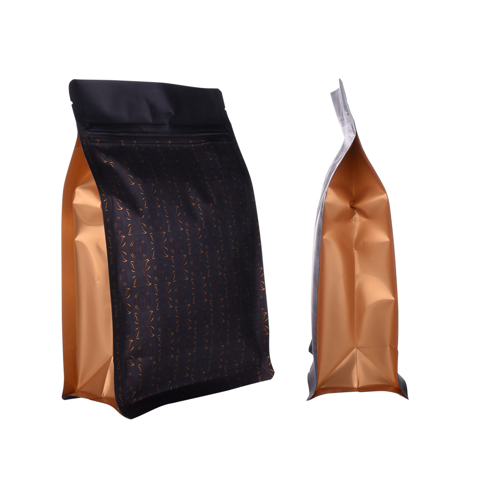 Plastic Zipper Black Box Gusset coffee beans Bags