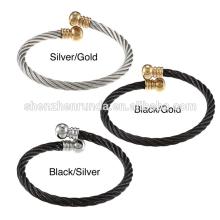 Conception de corde en acier inoxydable de haute qualité ouverte Cuff Cape Cod bracelet en gros bijoux en Chine Fournisseur