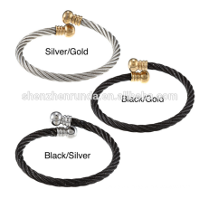 High Quality Stainless Steel Rope Design Open Cuff Cape Cod Bracelet wholesale jewelry China Supplier
