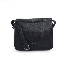 Black Leather Crossbody Bag Purse With Zipper Pocket