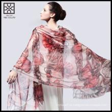 Moda floral impreso seda señora bufanda