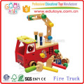 2015 New Kids Toy Wooden Fire Truck, Lovely Design Children Play Fire Truck Toy
