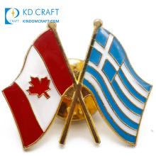 China manufacturer custom metal enamel epoxy souvenir friendship cross country canadian flag canada lapel pin badge