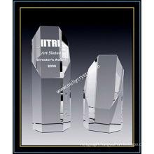 Octagon Crystal Empire Award 8 Inch Tall (NU-CW768)