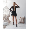 Langarm Mode Frauen Mesh Casual Dress