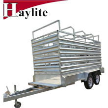 Tandem Axle Livestock Trailer Sheep Trailer with Cage Qingdao Supplier