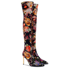 Long Heel Boots Print Flowers Overknee Boot High Heel Womens Thigh High Waterproof Hiking Boots Winter Boots Wears for Woman
